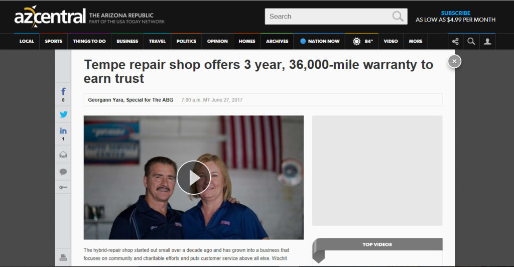 AZ Central: Tempe repair shop offers 3 year, 36,000-mile warranty to earn trust